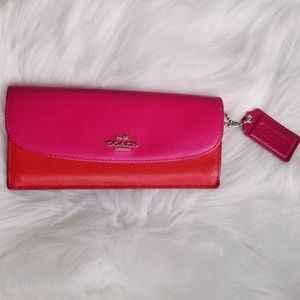 Coach | Pink & Red Colorblock Wallet